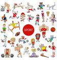 cartoon people and sports large set vector image