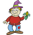Cartoon scarecrow holding an ear of corn vector image vector image