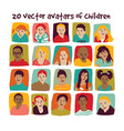 children avatars group set vector image