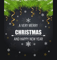 christmas card with snowflakes and green fir vector image vector image