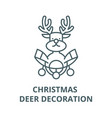 christmas deer decoration line icon linear vector image