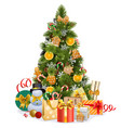 christmas pine tree with sweet decorations vector image vector image