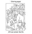 coloring gorilla vector image