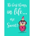 cute colored doodle owl with cake on head vector image vector image