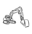 doodle outline front hoe loader excavator vector image