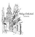 drawing sketch malaga cathedral vector image vector image