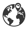 earth globe with gps pin icon vector image vector image