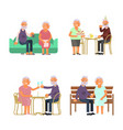 elderly people characters vector image vector image