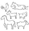 Farm animals doodle vector image vector image