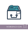 filing cabinet outline icon workspace sign vector image vector image