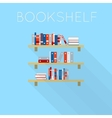 Flat-style design of three bookshelfs with books vector image
