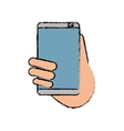 hand holds smartphone sms chat technology sketch vector image vector image