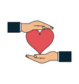 hands holding heart icon image vector image