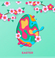 happy easter greeting card egg paper cut vector image