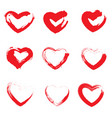 icon set of red heart painted hearts from grunge vector image