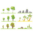 isolated tree icons set forest nature landscape vector image vector image
