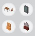 isometric furnishing set of chair sideboard vector image vector image