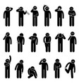 man scratching body stick figure pictograph icons vector image
