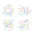 metro map signs color thin line icon set vector image vector image