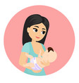mother feeds baby with vector image vector image