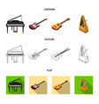 musical instrument cartoonoutlineflat icons in vector image