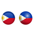 philippines flag under 3d dome button and on vector image