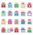 Present gift box colorful icons set vector image