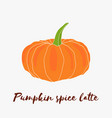 pumpkin spice latte hand drawn logo with vector image vector image