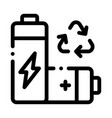 recycling battery icon outline vector image vector image