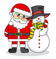 Santa Claus and snowman friends vector image