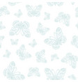 seamless pattern of blue butterfly outline vector image vector image
