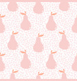 seamless pear cute pink stylized fruit pattern vector image