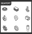 seaport outline isometric icons vector image vector image
