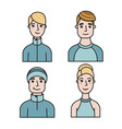 set male and female avatars for web flat style vector image vector image