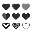 set of hearts icon vector image vector image