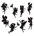 set of silhouettes of fairies set of silhouettes vector image vector image
