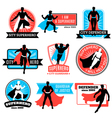 Set Of Superhero Emblems And Stickers vector image vector image