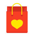 shopping bag with heart flat icon valentines day vector image vector image