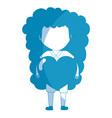 silhouette pretty girl with heart and casual wear vector image vector image