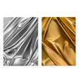 silver and gold texture foil fabric 3d realistic vector image vector image