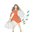 sketch woman shopaholic with shop addiction vector image