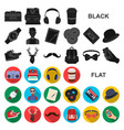 style hipster flat icons in set collection for vector image vector image
