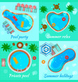 swimming pools top view concept vector image vector image