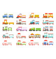 toy trains set colorful locomotives and wagons vector image vector image