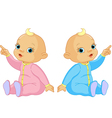 two adorable babies girl and boy pointing vector image vector image