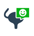 urinary bladder with happy face in chat bubble vector image vector image