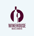 wine bottle logo with wine glass on white vector image vector image
