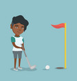 young african-american golfer hitting a ball vector image vector image