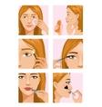 Young girl during makeup ritual