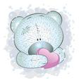 Blue teddy bear with heart vector image
